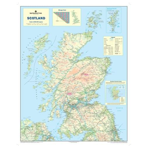 Scotland Laminated Map Scot by Office Star Group, MAP024