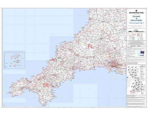 Laminated Postcode Wall Map Of Cornwall Scilly Isles England Uk S1 by Office Star Group, MAP028