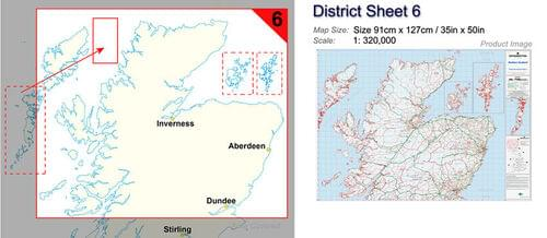 Postcode Wall Map Of Northern Scotland Uist-Orkney-Shetland D6 by Office Star Group, MAP029