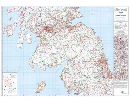 Postcode Wall Map Of Southern  Central Scotland Glas-Edin-Newcas D5 by Office Star Group, MAP031