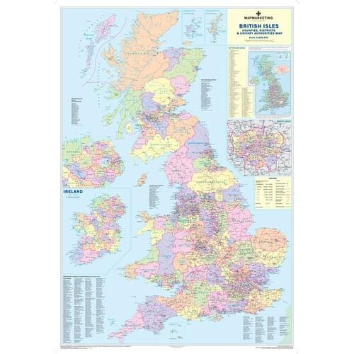 Framed Wall Map Of County District Counties England Uk Gb