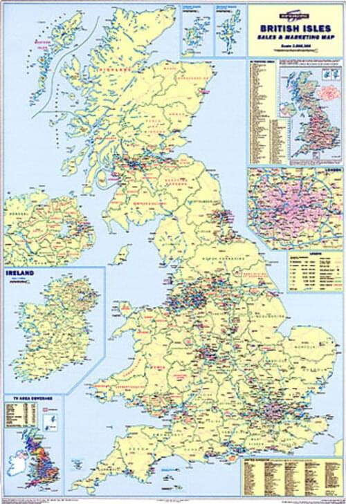Framed Sales  Marketing Wall Map Of Britain Gb Uk Main Roads by Office Star Group, MAP115