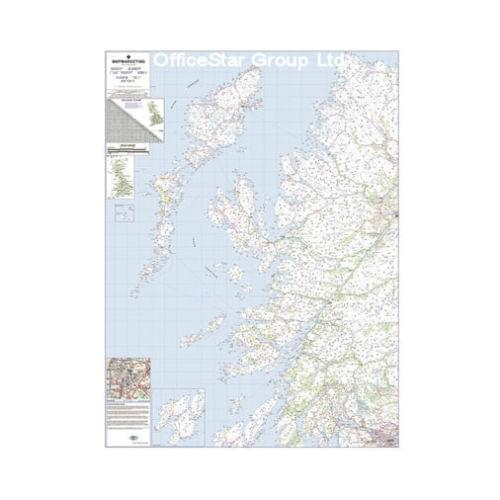 Laminated Road Wall Map Of Outer Hebrides-Uist-Skye-Rhum-Mull Scotland Uk Rrm2 by Office Star Group, MAP126