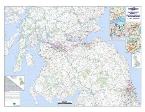 Laminated Road Wall Map Of Southern Scotland  Northumberland Uk Rrm3 by Office Star Group, MAP127