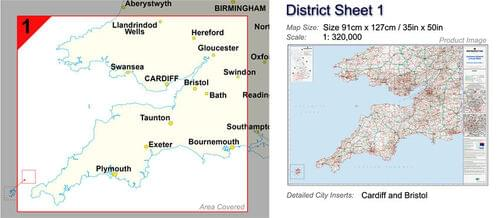 Postcode Wall Map Of South West England  S.Wales Great Britain D1 by Office Star Group, MAP133
