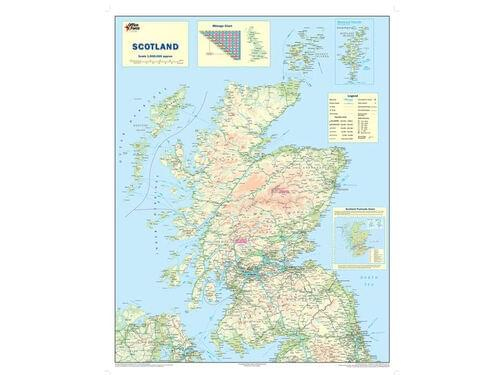 Wooden Framed Scotland Map Scot L Wood by Office Star Group, MAP022