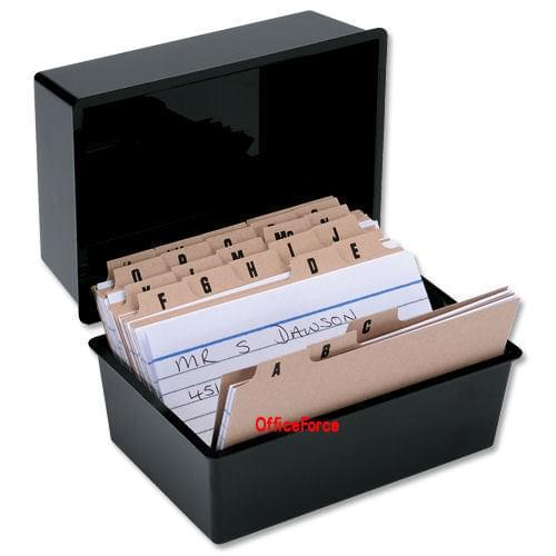 Black Record Card Box with 300 Cards and A-Z Index 5X3 127x76mm by 5 Star Office, PRM1001