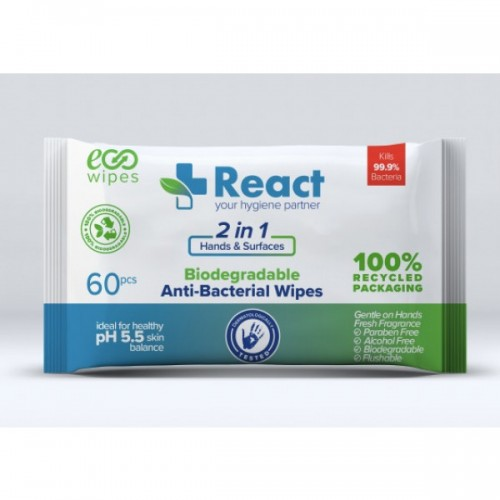 React Antibacterial Cleaning Wet Wipes BIODEGRADABLE for Surfaces/Desks/Hands/Skin -UK Bulk or Singles