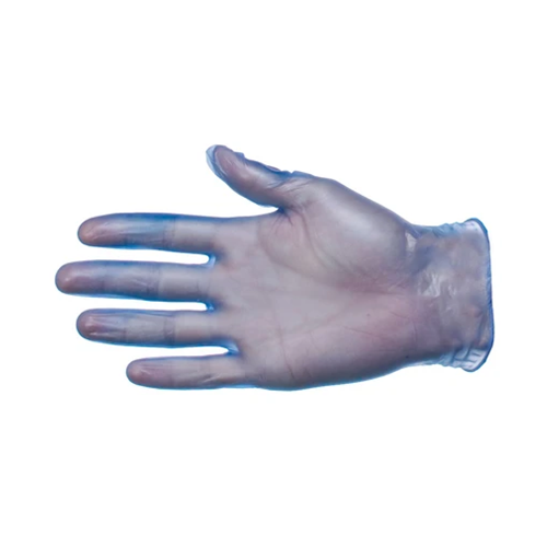 PRO Blue Powdered Vinyl Large Gloves Latex Free Pk100