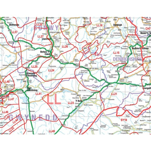 Large Postcode Laminated Wall Map Of Wales  Midlands Liver-Cardiff-Birm-Bristol D3 by Office Star Group, MAP026