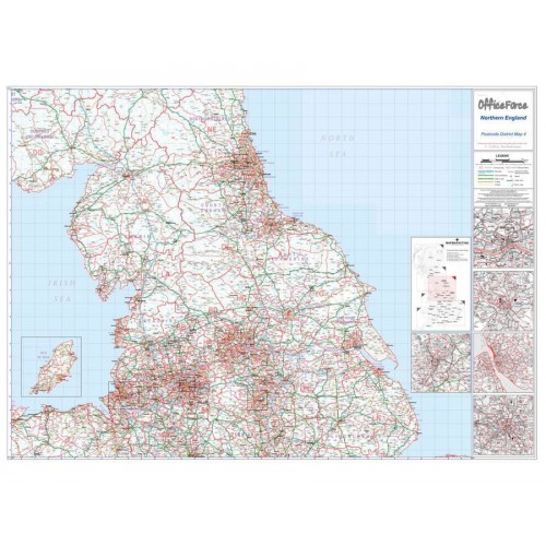 Postcode Wall Map Of North of England UK GB Newcastle-Leeds-Manch-Liverpool D4 Laminated