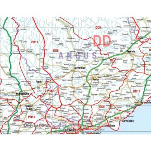 Postcode Laminated Wall Map Of Northern Scotland Uist-Orkney-Shetland D6 for Business by Office Star Group, MAP029