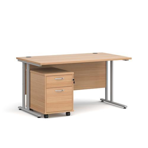 Straight Rectangular Office Desk with Pedestal by Dams International, DESK2