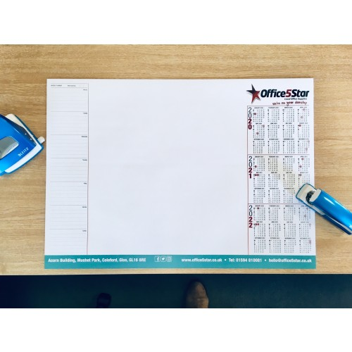 A2 Large Paper Desk Jotter Sheet Pad Calendar Year 2021-2022-2023 with Planner Task Notes by , DESKPAD