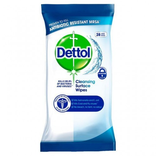 Dettol Antibacterial Cleaning Wet Wipes for Surfaces - Large - Pack of 28 - UK Bulk Buy or Singles