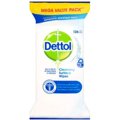 Dettol Antibacterial Cleaning Wet Wipes for Surfaces - Large - 6 Pack x 126 - UK Bulk Buy 756 Wipes