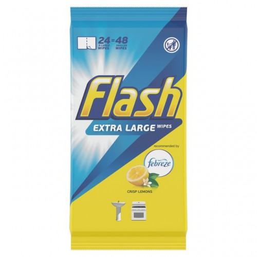 Flash Antibacterial Sanitising Cleaning Wet Wipes Unscented for Surfaces Pack 24 48 Large