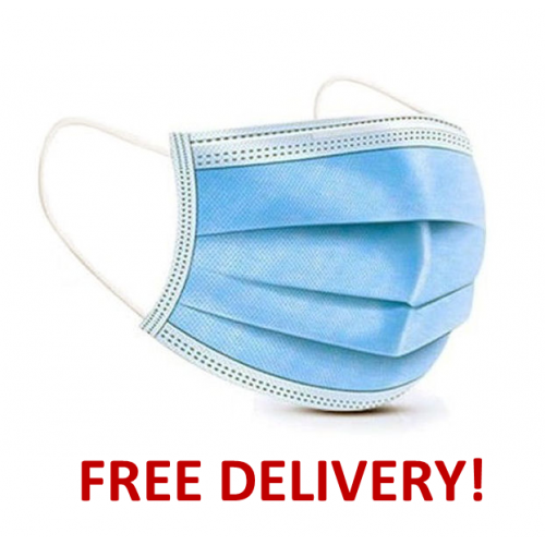 50 Fluid-resistant (Type IIR) surgical masks (FRSM) Blue Protective Disposable 3 Ply Medical EN14683 Certified Bulk Pack Box FREE DELIVERY