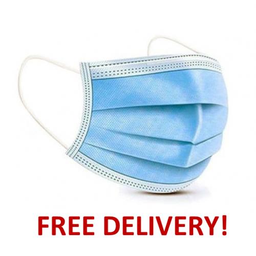 50 Fluid-Resistant (Type IIR) Surgical Face Masks (FRSM) Blue Protective Disposable 3 Ply Medical EN14683 Certified Bulk Pack Box
