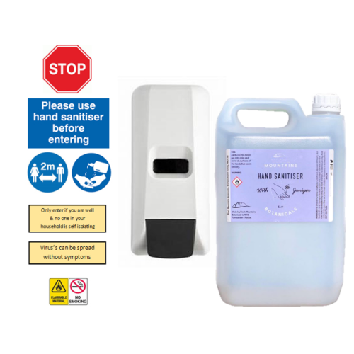 Hand Sanitiser Station Kit with Wall Mounted Dispenser, Signs, 5L Sanitiser