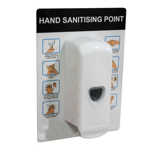 Hand Sanitising Station - Wall Mounted Dispenser for Liquid or Gel Hand Sanitiser & Backboard Sign by 5 Star Office, DISP501