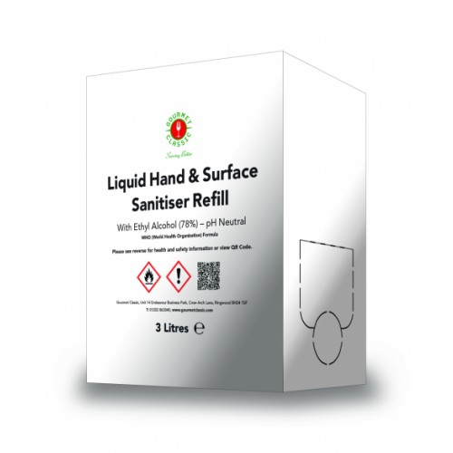Liquid Multi Surface and Hand Sanitiser 78% Alcohol in Wine Box Dispenser 3L