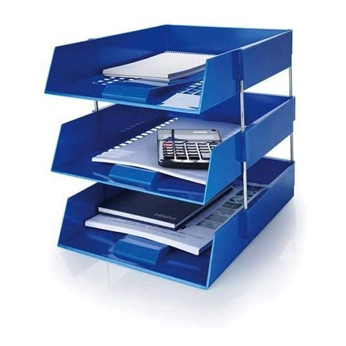 Stacking IN/OUT Letter Trays Desk Set with Risers Blue by 5 Star Office, PRM1344