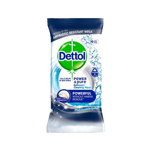Dettol Antibacterial Power Cleaning Wipes for Surfaces Pack of 70 - Bulk Buy or Singles