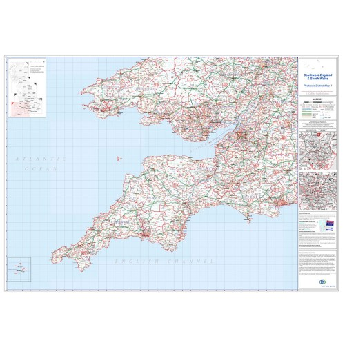 South West England-South Wales-Cardiff-Bristol-Lands End Large Postcode Wall Map