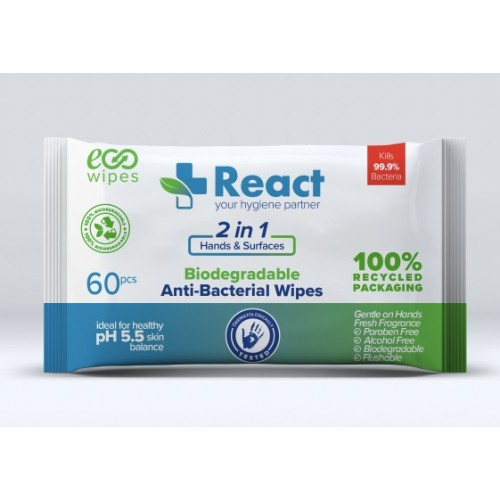 12 Packs Antibacterial React Cleaning Wet Wipes Eco BIODEGRADABLE for Hands & Surfaces Flushable
