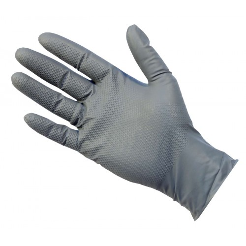 Strong Grey/Blue Nitrile Disposable UltraGrip Plus + Gloves Latex-Free and Powder-Free LARGE
