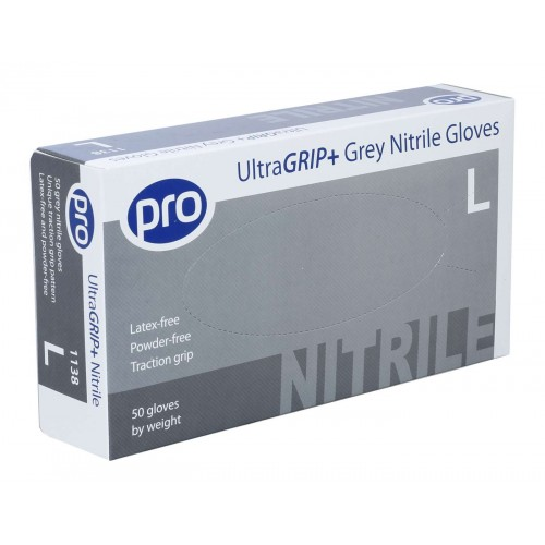 Strong Grey/Blue Nitrile Disposable UltraGrip Plus + Gloves Latex-Free and Powder-Free LARGE by 5 Star Office, GLOVEA101