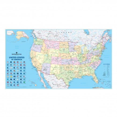 Usa Political Laminated Large Wall Map Showing States, Cities and Towns