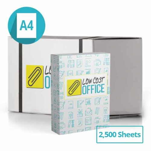 Lowcostoffice box of A4 printer paper 80gsm 2500 sheets
