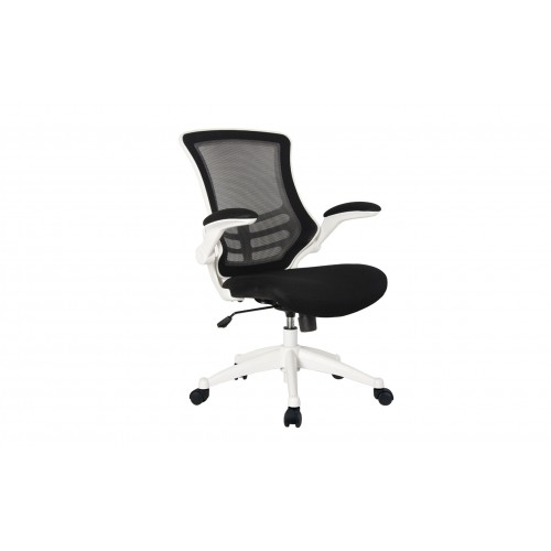 Mesh Back Office Chair With Folding Arms - White