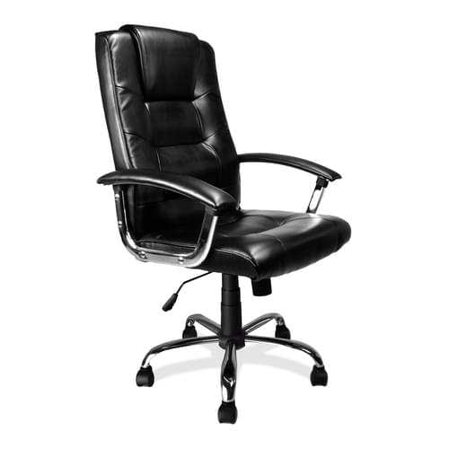 High Back Leather Faced Executive Armchair with Integral Headrest and Chrome Base