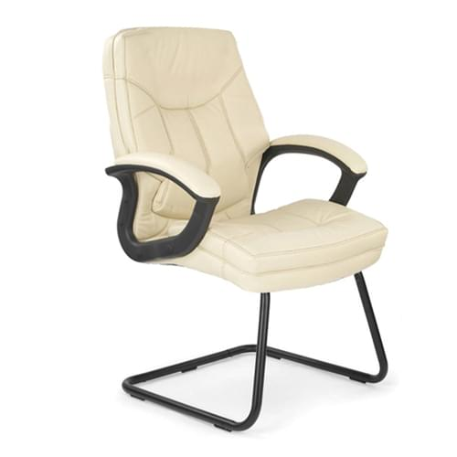 Stylish High Back Leather Faced Visitor Armchair with Upholstered Armrests and Pronounced Lumbar Support