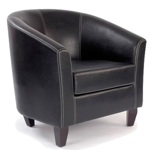 High Back Tub Style Armchair Upholstered in a durable Leather Effect Finish - Brown