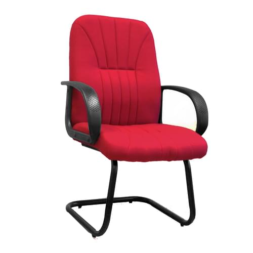 Cantilever Framed visitor Armchair with Sculptured High Back and Fan Stitching Pattern Design