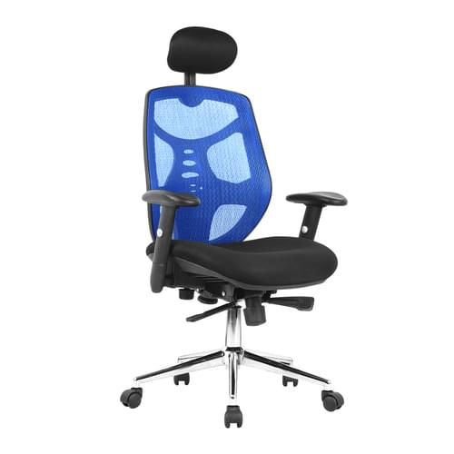 High Back Mesh Synchronous Executive Armchair with Adjustable Headrest and Chrome Base