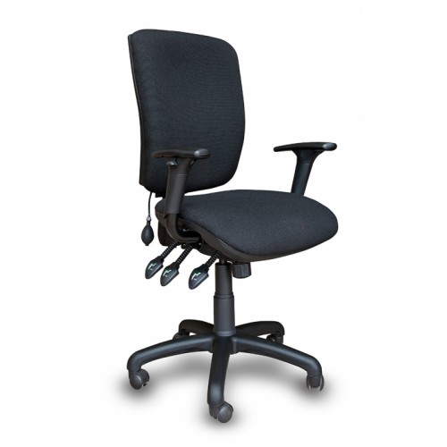CALEY Black CAL 350 Ultimate Task Chair. Complete with Pump Up Lumbar, Adjustable Arms, Ratchet Back and 3 Lever Action
