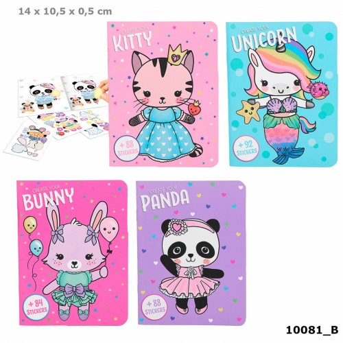 Dress Up Your Kitty, Panda, Unicorn, Bunny Colouring Book