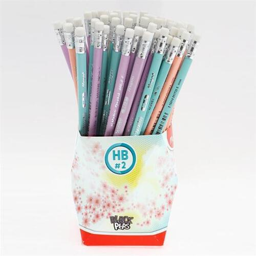 Maped Black'peps Ergo Hb Pencil W/eraser - Pastel 3 Asst Cdu