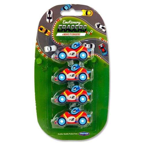 Emotionery Card 4 Novelty Racing Car Erasers