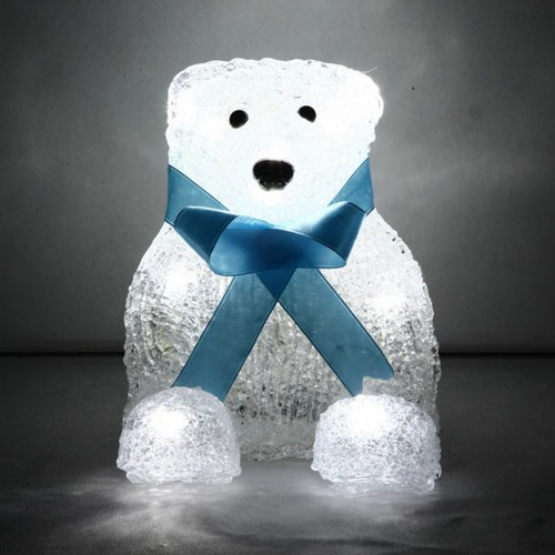 Acrylic Teddy Bear with 16 White LED Lights