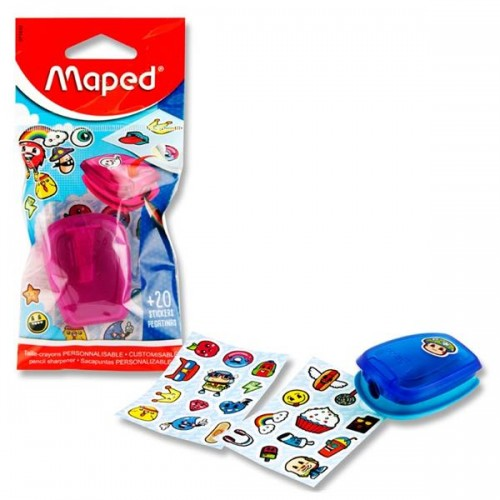 Maped Stick Art Single Hole Sharpener + 20 Stickers 2 Asst