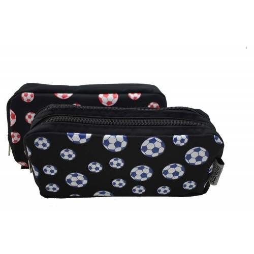 DOUBLE PENCIL CASE FTBALL BLK (PC-7846B)