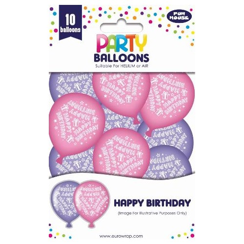 HAPPY BIRTHDAY BALLOONS GIRL 10PK