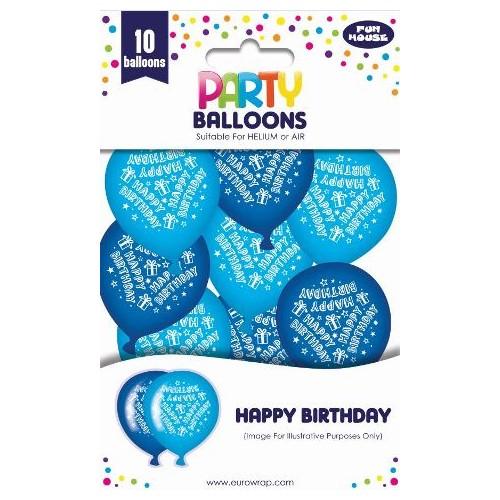 HAPPY BIRTHDAY BALLOONS BOY 10PK