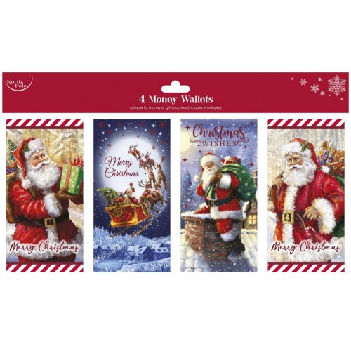 Xmas Traditional Money Wallet 4pack